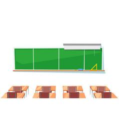 school classroom chalkboard and desks education vector image