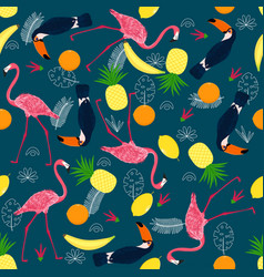 Seamless pattern with pink flamingo and toucan vector