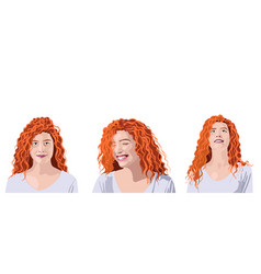 Set curly ginger woman in white t-shirt vector