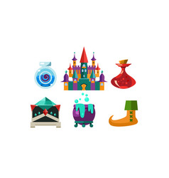 Set of cartoon magic objects bottles with elixir vector