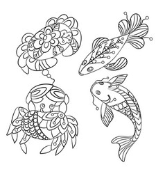 set of sea animals in graphic in vector image