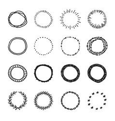 Set vintage hand drawn circle shapes design vector
