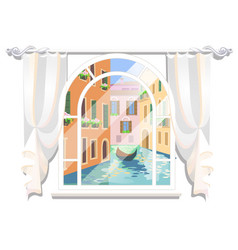 Sketch a poster in style venice view vector