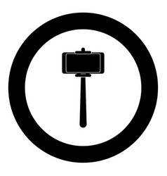 stick holder for selfie black icon in circle vector image