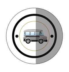 Sticker with circular shape with colorful mini bus vector