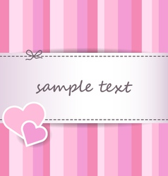 striped pink valentine day greeting card vector image vector image