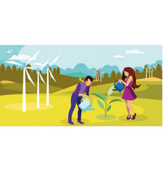Sustainable nature usage flat vector