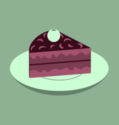 Sweet dessert in flat design berry pie on a plate vector