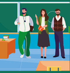Teachers classic and sports in classroom vector