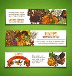 Thanksgiving horizontal banners set vector