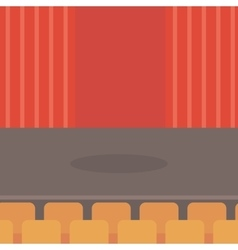 Theater stage with curtains seats and spotlight vector