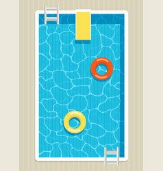 Top view of pool with inflatable circles vector