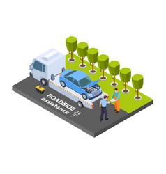 Tow truck isometric roadside assistance vector