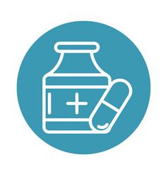 Virus covid 19 pandemic medicine bottle capsule vector