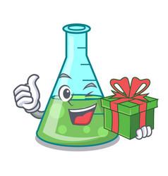 With gift science beaker mascot cartoon vector