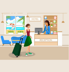 Woman with luggage in hotel lobby drawing vector