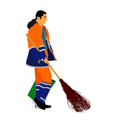 Worker sweeping with besom man collect leaves vector
