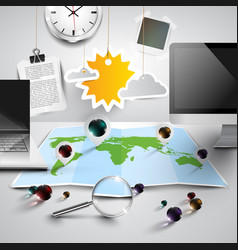 World map in 3d with office tools sunny vector