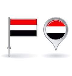 Yemeni pin icon and map pointer flag vector image