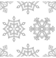 Zentangle winter snowflakes seamless pattern for vector image