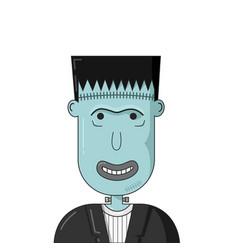 cartoon smiling frankenstein head vector image