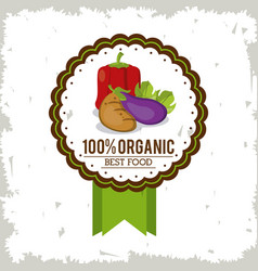 colorful logo of organic best food with peppers vector image