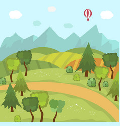 countryside landscape with fields trees mountains vector image