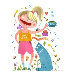 Girl and pet cat drinking tea girlish design vector image