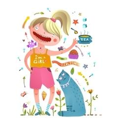 Girl and pet cat drinking tea girlish design vector