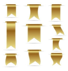 gold color hanging curved ribbon banners set eps10 vector image vector image
