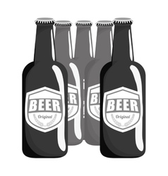 grayscale brown bottles of beer icon image vector image vector image