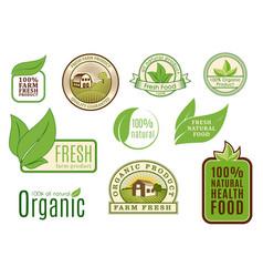 organic vegan logo labels healthy food eco vector image vector image