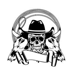 cowboy and skull bull vector image