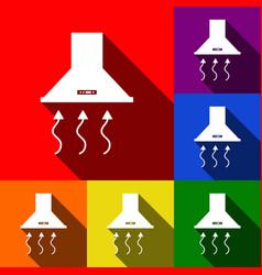 exhaust hood range hood kitchen ventilation sign vector image