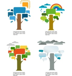 four seasons with four speech trees vector image vector image