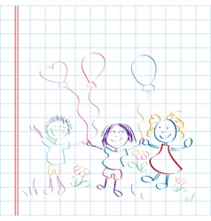 kids hand drawn vector image vector image