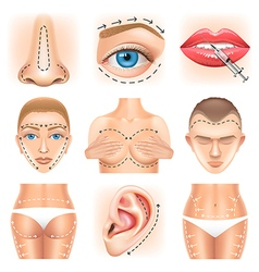 Plastic surgery icons set vector image vector image