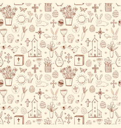 Seamless pattern with easter doodle sketches in vector