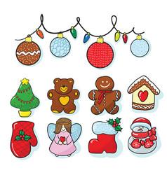 set of christmas decoration hand draw vector image