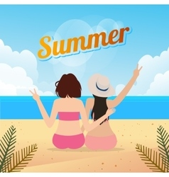 two young women sitting together on a sandy beach vector image