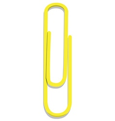 Yellow paper clip vector image