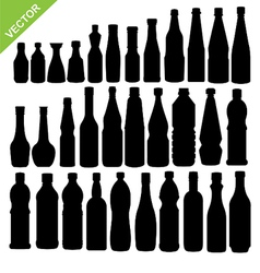 Bottle silhouettes vector image vector image