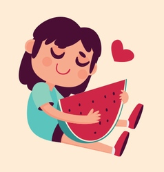 Cartoon Girl Hugging Watermelon vector image