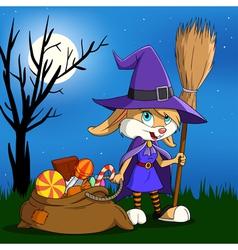 cartoon halloween bunny vector image vector image