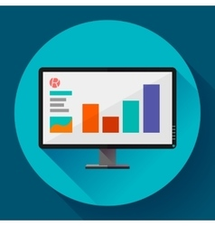 Computer monitor display wide screen icon vector image