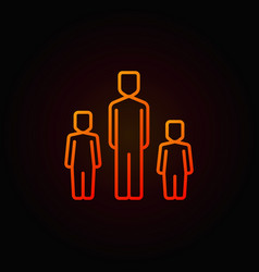 father with two children colorful icon vector image vector image
