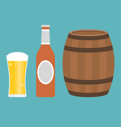 glass of beer bottle and barrel vector image vector image