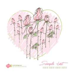 Retro greeting card with pink rose vector image