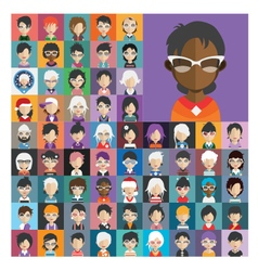 Set of people icons in flat style with faces 26 b vector image vector image