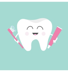 Tooth holding toothpaste and toothbrush Cute funny vector image